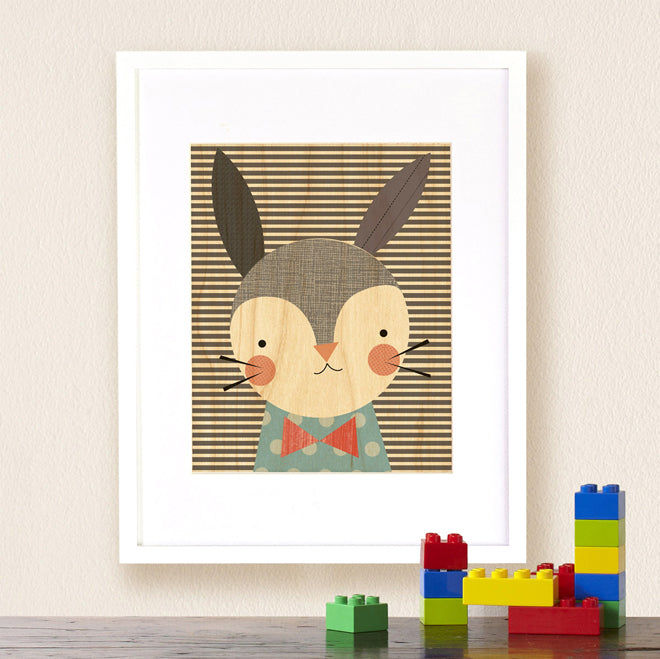 Petit Collage 'Dapper Rabbit' print on maple wood for nurseries, published by Bobby Rabbit