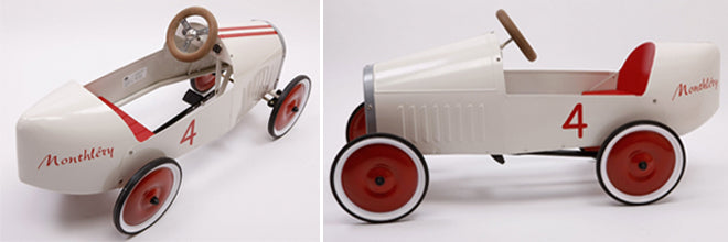 Red and white 'Bianchi' toy pedal car, designed by Baghera and available from Pedal Play, published by Bobby Rabbit