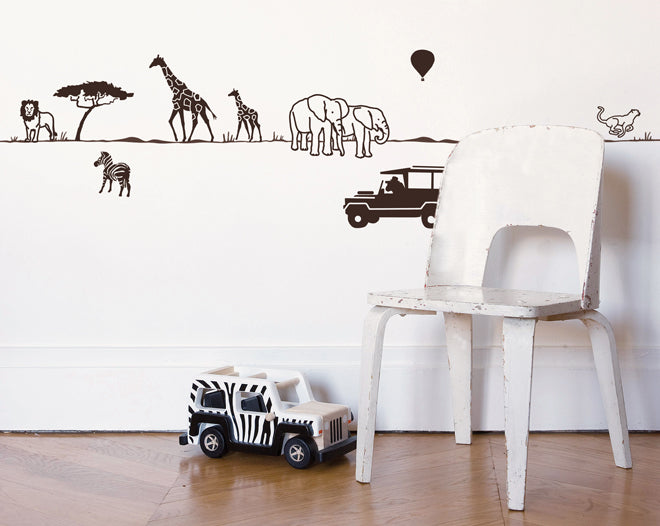 on the wall, wall stickers, children's wall stickers, safari wall sticker, Mimi Lou, Petit Home, published by Bobby Rabbit