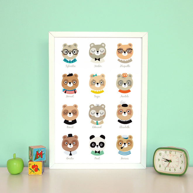 on the wall, wall art, children's wall art, animal wall art, Zu, Petit Home, published by Bobby Rabbit