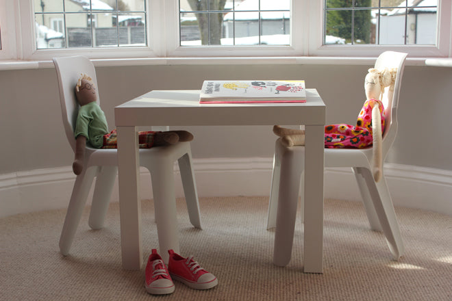 real life rooms, grey and white neon and bright bedroom, play corner, children's play table, children's chairs, white gloss play table, white chairs, children's chairs, Magis Alma children's chairs, white plastic chairs for children, published by Bobby Rabbit