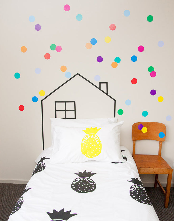 Bright polka dot wall stickers, as seen on Good Regards, published by Bobby Rabbit
