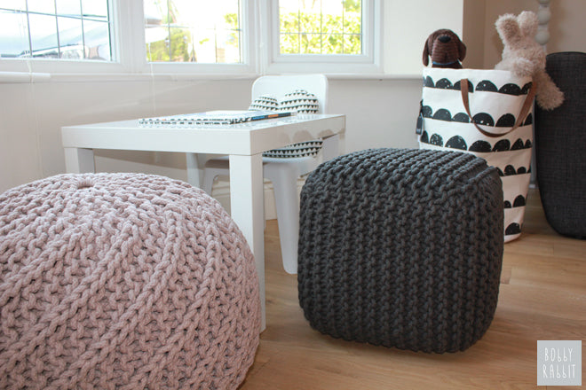 Habitat 'Knot' poufs and Ferm Living storage bag, published by Bobby Rabbit