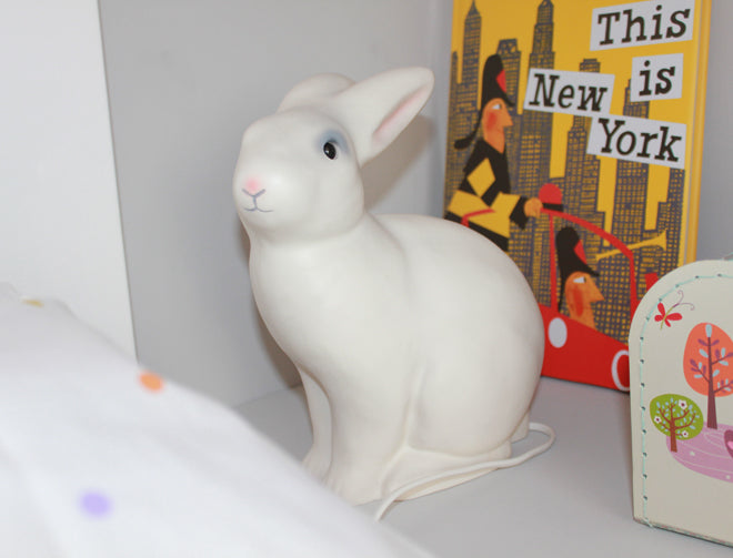 real life rooms, grey and white neon and bright bedroom, children's bedside lights, children's night lights, rabbit bedside light, rabbit nightlight, Heico rabbit light, published by Bobby Rabbit