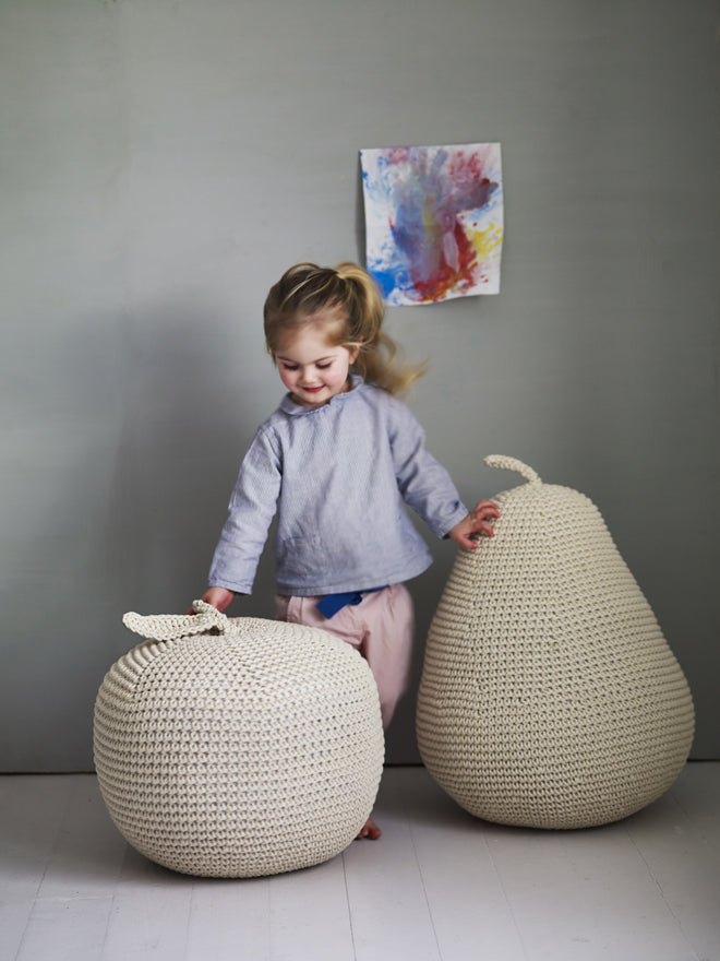 JAMES' GIANT APPLE AND PEAR POUFFES FROM LITTLE ROWEN AND LITTLE WREN