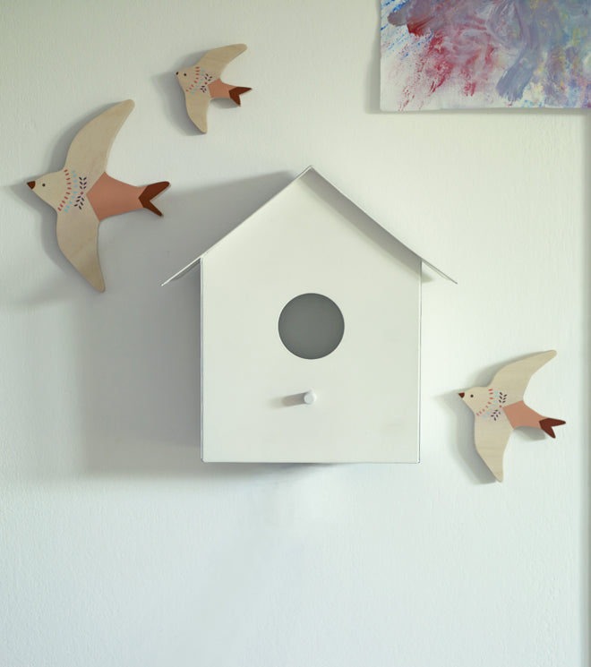lighting, wall lights, children's wall lights, bird house light, bird house wall light, Hallie bird house wall light, Rowen and Wren, published by Bobby Rabbit