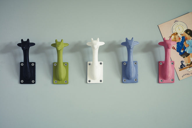 on the wall, wall hooks, children's wall hooks, animal wall hooks, giraffe wall hooks, Rowen and Wren, published by Bobby Rabbit