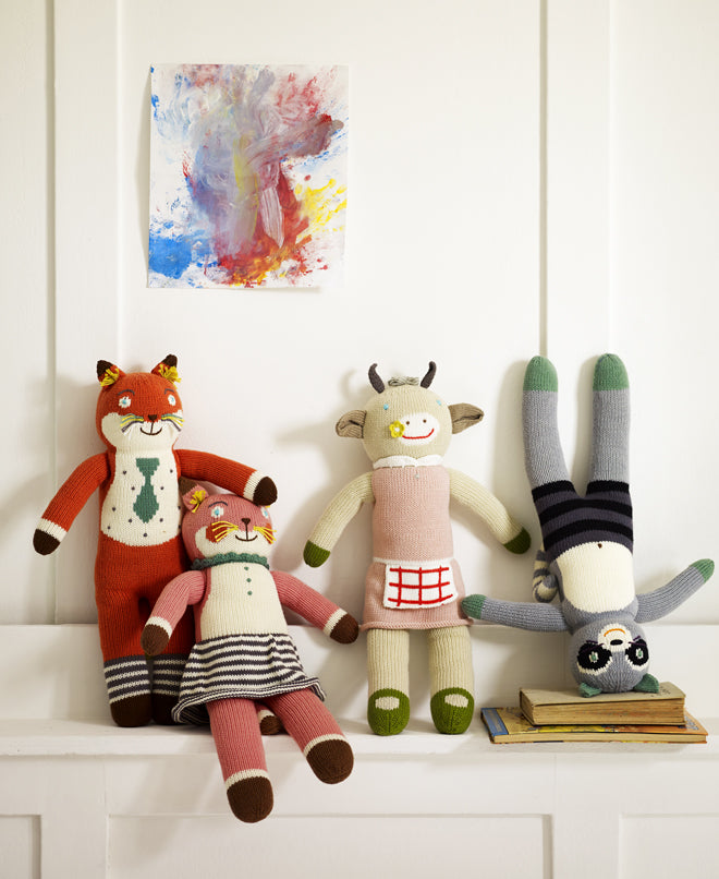 toys, soft toys, soft toy animals, knitted animals, knitted toys, Little Rowen and Little Wren, published by Bobby Rabbit