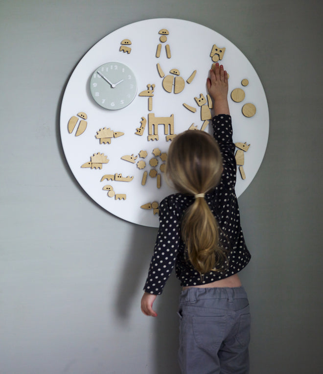 on the wall, clocks, children's clocks, Marli magnetic play clock, Little Rowen and Little Wren, published by Bobby Rabbit