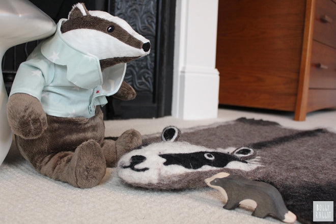 Badger rug by Sew Heart Felt and soft toy badger, room design and styling by Bobby Rabbit