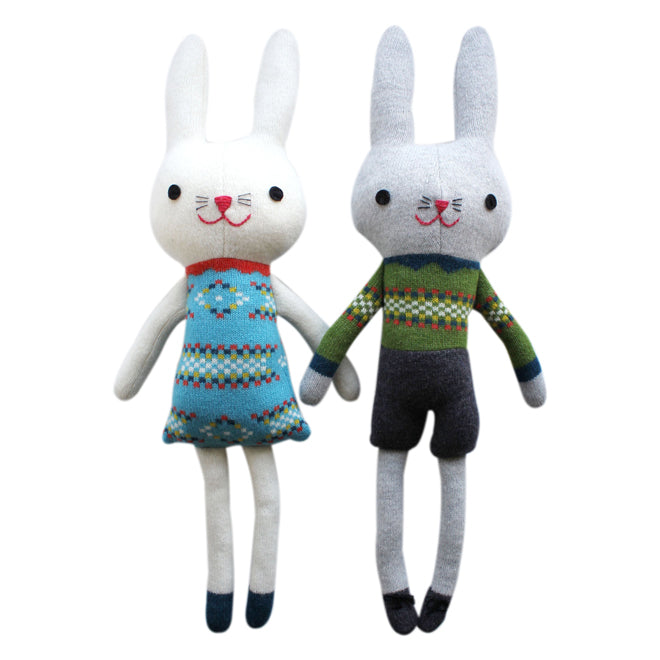 Mr and Mrs Bunny soft toys by Sally Nencini, published by Bobby Rabbit
