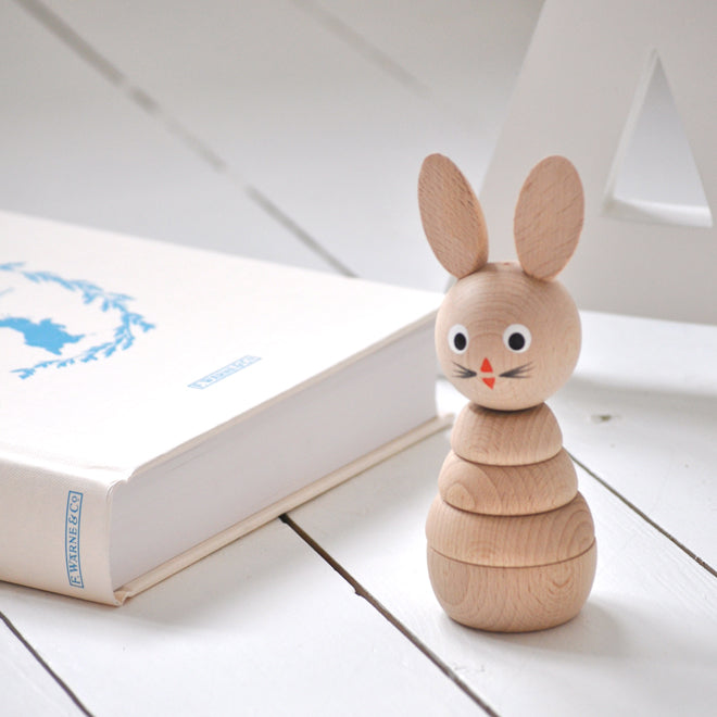 Wooden stacking toy rabbit by Sarah & Bendrix, published by Bobby Rabbit