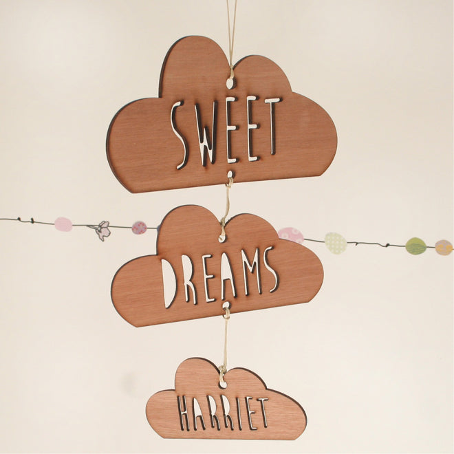 Scamp wooden hanging decorations for children's rooms, published by Bobby Rabbit