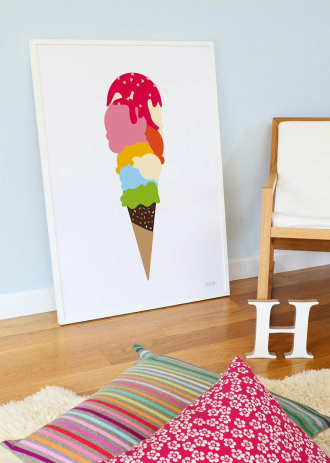 on the wall, wall art, children's wall art, seaside wall art, ice cream wall art, Showler and Showler, published by Bobby Rabbit