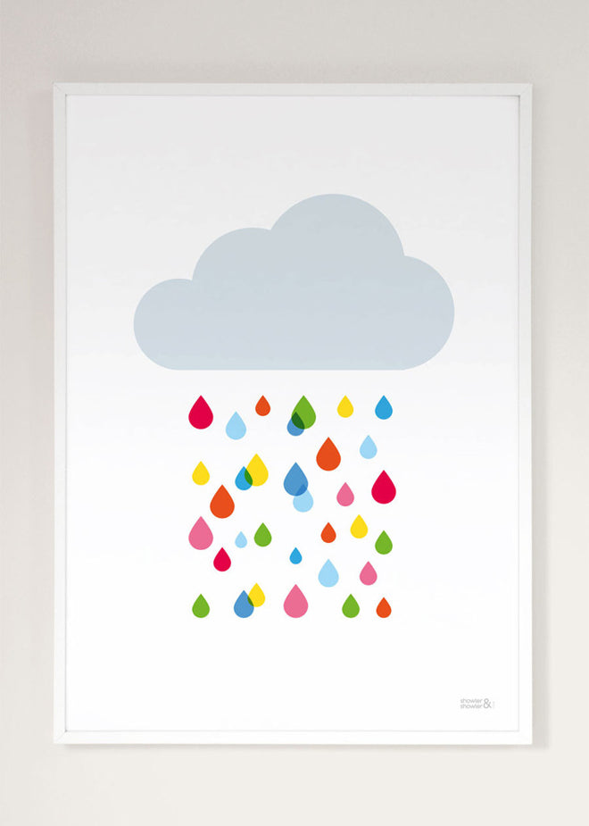 Multicoloured Rain Cloud wall art print by Showler and Showler, published by Bobby Rabbit