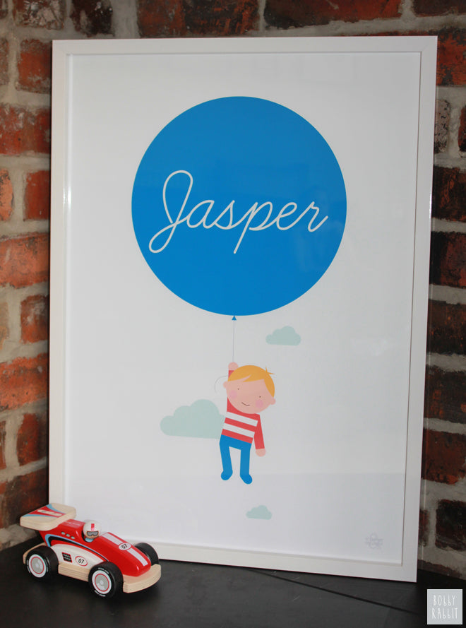 Children's personalised balloon print by Showler & Showler, published by Bobby Rabbit