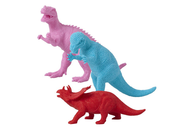 Pink, blue and red coloured dinosaur toys by Rice DK, available at Sisters Guild, published by Bobby Rabbit