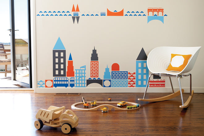 on the wall, wall stickers, children's wall stickers, children's wall decals, cityscape wall sticker, boys wall stickers, City by Boodalee sticker, Supernice, published by Bobby Rabbit