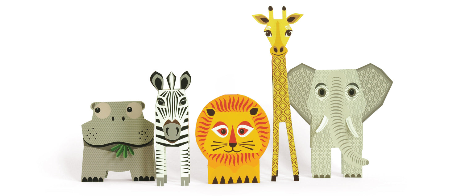 The Safari Set children's book with make-your-own animals by Madeleine Rogers at Mibo, published by Bobby Rabbit