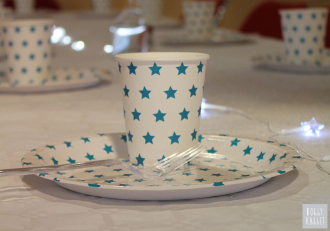 Turquoise star paper plates and cups by My Little Day for Frozen themed party, party styling by Bobby Rabbit