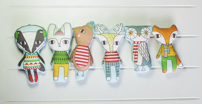 Julia Staite Woodland Winterland soft toys from The Dandy Kid, published by Bobby Rabbit