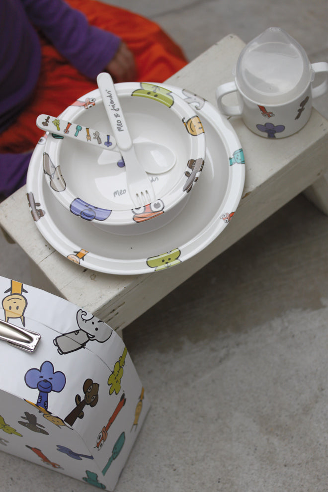 tableware, children's tableware, children's plates, children's bowls, children's cutlery, children's beakers, Meo and Friends, The Kid Who, published by Bobby Rabbit