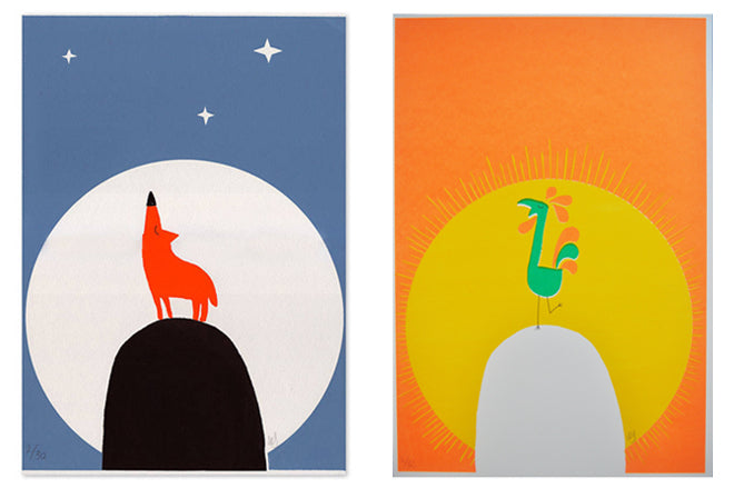 Limited edition 'Howling Wolf' and 'Crowing Cockerel' screen prints by Spann & Willis from The Kid Who, published by Bobby Rabbit