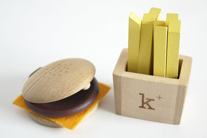 Hamburger and fries wooden musical instruments for children, designed by Kiko+, published by Bobby Rabbit