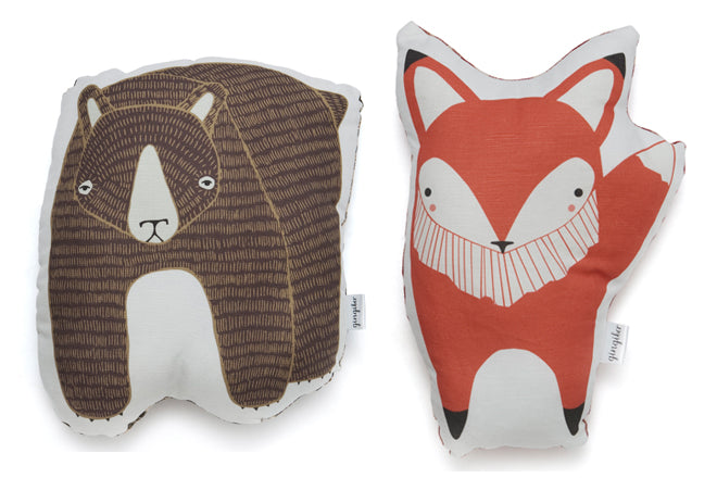 children's cushions, soft toys, soty toy cushions, animal cushions, bear cushion, fox cushion, Gingiber, The Modern Baby, published by Bobby Rabbit
