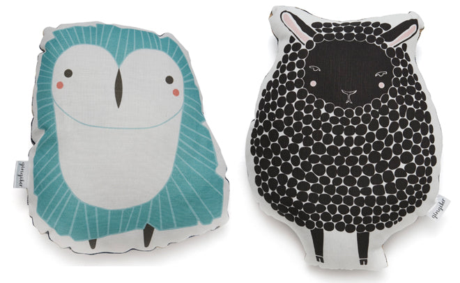 children's cushions, soft toys, soty toy cushions, animal cushions, owl cushion, sheep cushion, Gingiber, The Modern Baby, published by Bobby Rabbit