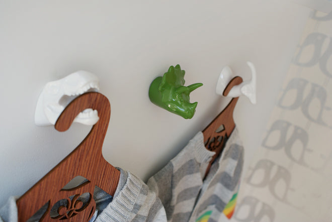 on the wall, wall hooks, children's wall hooks, children's door knobs, children's wardrobe handles, children's drawer knobs, dinosaur wall hooks, Mr Rex dinosaur wall hook, Mr Spiky dinosaur wall hook, Mr Big Tuft dinosaur wall hook, The Modern Baby, published by Bobby Rabbit