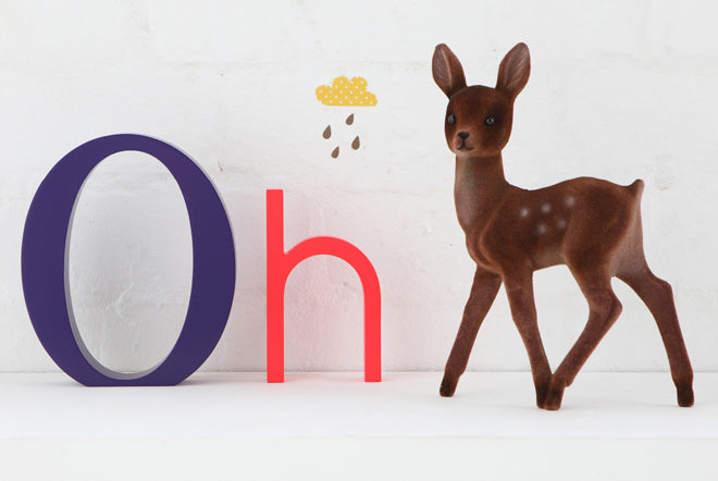 on the wall, wall decoration, alphabet wall art, wooden letters, coloured wooden letters, alpha art bright letters, The Modern Baby, published by Bobby Rabbit