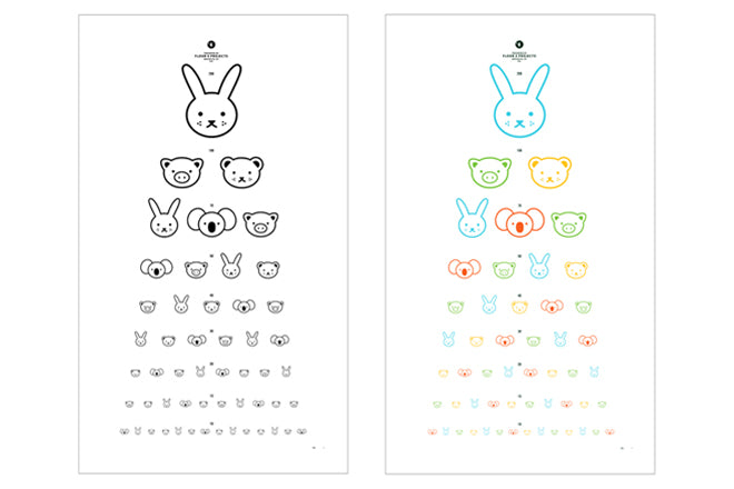 Animal Eye Chart A2 print for children's rooms, designed by Floor 4 Projects in Brooklyn and available from This Modern Life, published by Bobby Rabbit