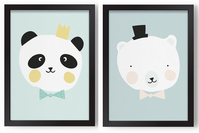 Eef  Lillemor 'King Panda' and  'Mr Polar Bear' A3 prints for children, published by Bobby Rabbit