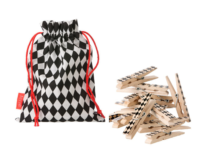 Ferm Living black and white harlequin pegs
