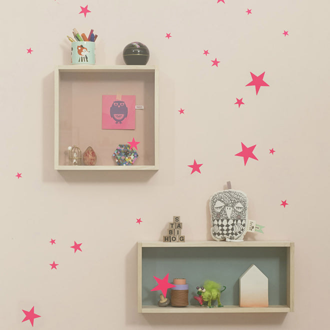 'Mini Stars' neon pink wall sticker set for children's rooms by Ferm Living, available from This Modern Life shop, published by Bobby Rabbit