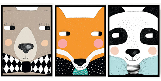Children's animal wall art prints by Seventy Tree, available from This Modern Life, published by Bobby Rabbit