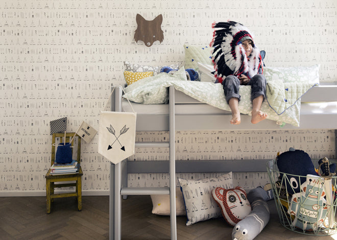 'Native' black and white teepee children's wallpaper by Ferm Living, published by Bobby Rabbit