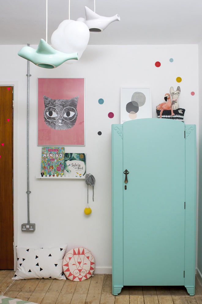Upcycled wardrobe and wall art, shared children's bedroom designed by This Modern Life, published by Bobby Rabbit