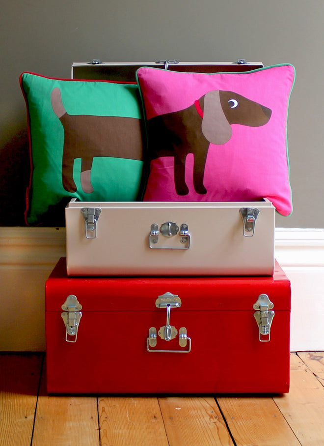 Toby Tiger Fox and Sausage Dog Cushions, published by Bobby Rabbit