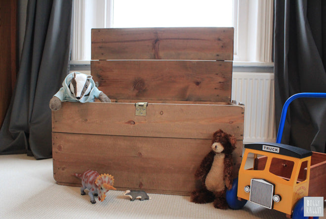 Wooden toy chest and toys, room design and styling by Bobby Rabbit