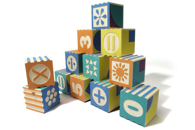 Wooden number blocks designed in the USA by Uncle Goose and available from Toyella, published by Bobby Rabbit