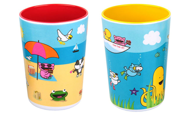 tableware, table accessories, children's beakers, trainee beakers, beach scene beakers, sea scene beakers, Tum Tum Tots, published by Bobby Rabbit