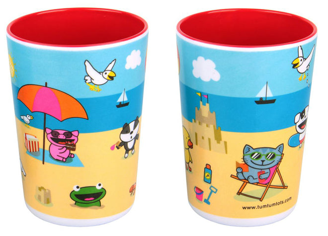 tableware, table accessories, children's beakers, trainee beakers, beach scene beakers, Tum Tum Tots, published by Bobby Rabbit