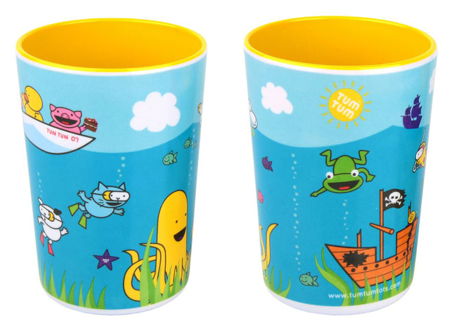 tableware, table accessories, children's beakers, trainee beakers, sea scene beakers, Tum Tum Tots, published by Bobby Rabbit