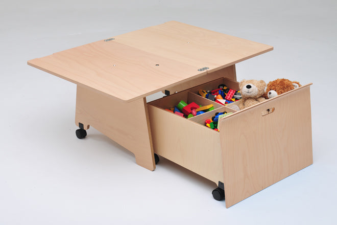 TurniTable coffee table, children's play table and toy storage, published by Bobby Rabbit