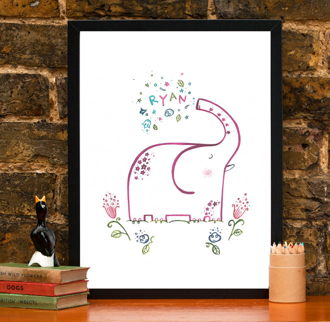 on the wall, wall art, children's wall art, children's personalised wall art, name prints, elephant name print, Wetpaint, published by Bobby Rabbit