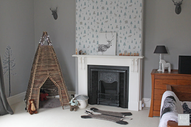 A bear, a badger, a deer and a den woodland inspired boys room, design and styling by Bobby Rabbit