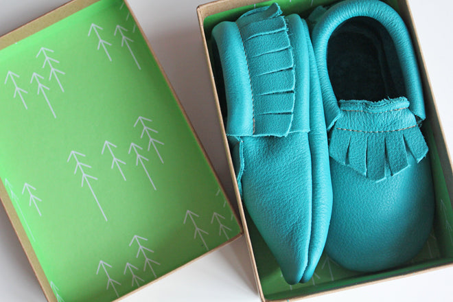 Wolfie + Willow leather moccasins for babies and toddlers, published by Bobby Rabbit