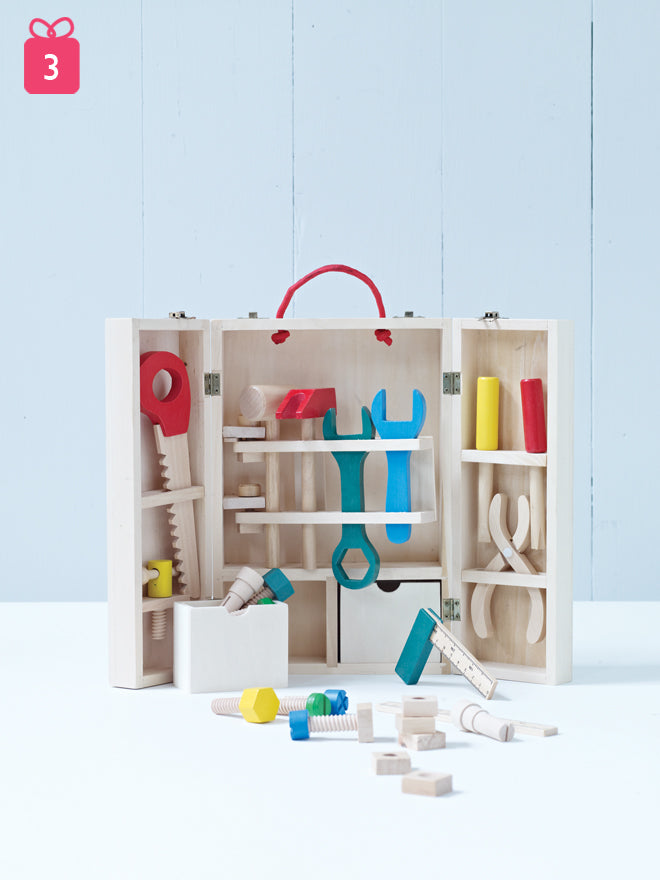 toys, wooden toys, wooden tool set, wooden tool set for children, gifts, christmas gifts, Cox and Cox, published by Bobby Rabbit
